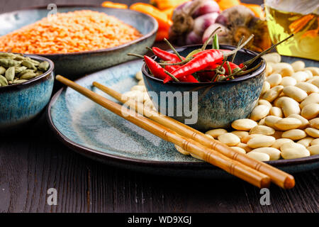 Dried red beans on plate ready for cooking - Stock Photo