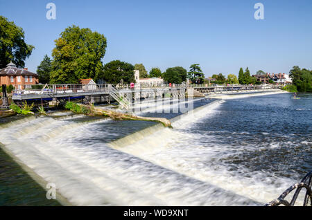 A view of the weir on The River Thames at Marlow in Buckinghamshire, UK - Stock Photo
