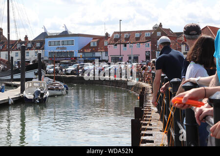 Wells-next-the-sea crabbing at harbour on a sunny day, North Norfolk, England - Stock Photo