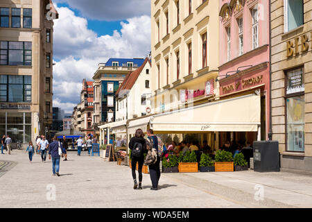 Colourful traditional buildings in Rynek, the market square in Wroclaw, Poland. - Stock Photo