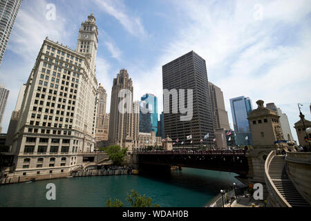 chicago river view of the wrigley building tribune tower dusable bridge and equitable building downtown chicago illinois united states of america - Stock Photo