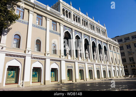 9th September 2017; Baku, Azerbaijan - Museum of Azerbaijani Literature in honor of Nizami Gencevi. View from left low angle. - Stock Photo