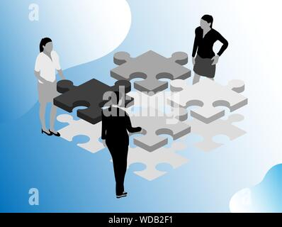 Flat illustration. Digital marketing modern flat design isometric concept. People icon , person work group team, business meeting communication. - Stock Photo