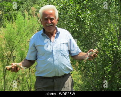 Portrait Of Happy Senior Man Holding Fish While Standing Against Plants - Stock Photo