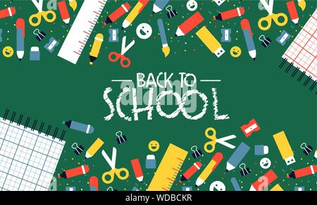 Back to school card illustration of colorful children class supplies in flat cartoon style. Student elements on green chalkboard background for fun ki - Stock Photo