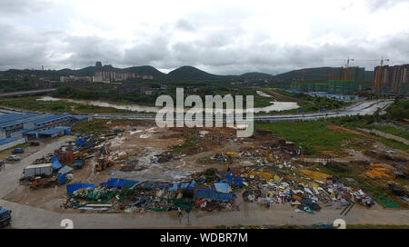 Danzhou. 29th Aug, 2019. Photo taken on Aug. 29, 2019 shows the damaged site after a tornado ripped across Nada Township of Danzhou City, south China's Hainan Province. At least eight people died and one was seriously injured as a tornado lashed a township in China's southernmost island province of Hainan early Thursday morning, local authorities said. Credit: Guo Cheng/Xinhua/Alamy Live News - Stock Photo