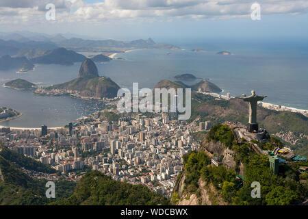 Aerial view of Christ the Redeemer, Rio de Janeiro, Brazil - Stock Photo