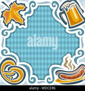 Vector frame for Oktoberfest, menu on background Bavarian pattern of white blue rhombus: autumn maple leaf, mug beer, pretzel and plate with sausages - Stock Photo