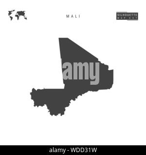 Mali Blank Vector Map Isolated on White Background. High-Detailed Black Silhouette Map of Mali. - Stock Photo
