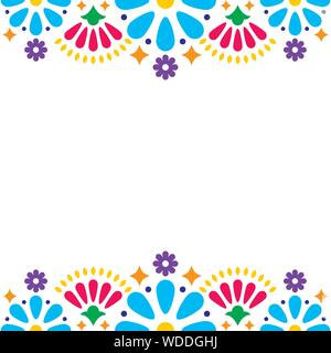Mexican folk vector wedding or party invitation, greeting card, colorful frame design with blue flowers and abstract shapes on white - Stock Photo