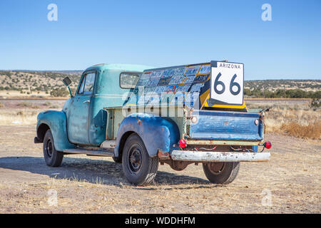 A Chevy truck at Ash Fork, Arizona - Stock Photo