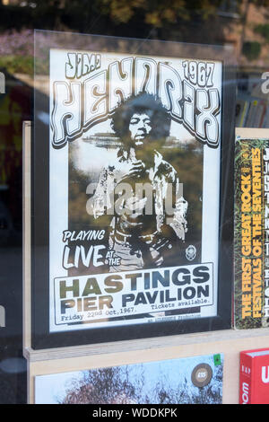 Jimi Hendrix playing live at the Hastings Pier Pavillion poster - Stock Photo