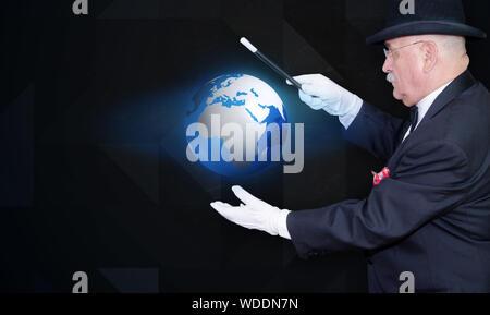 Senior Man Holding Illuminated Globe - Stock Photo