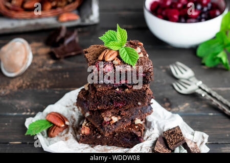 Chocolate and Coffee Brownie with Cherry and Pecan - Stock Photo