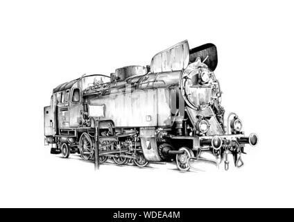old steam locomotive engine retro vintage - Stock Photo