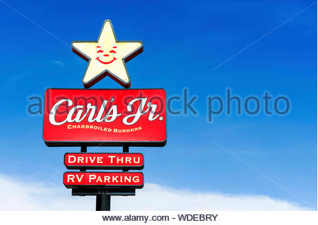 Los Angeles, California, USA - May 29 2015: Carl's Jr. is an American-based quick service restaurant chain operating in 44 states and 38 foreign count - Stock Photo