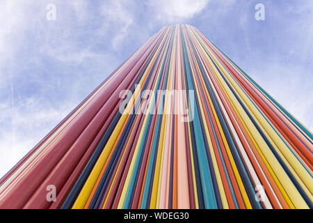 Le Moretti - Detail of the 'Moretti chimney', 32 meters-high fiberglass sculpture installed in La Defense district in Paris, France, Europe. - Stock Photo