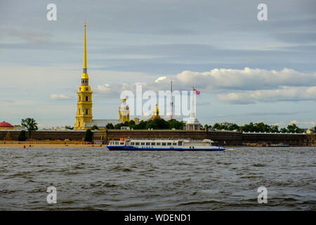 ST. PETERSBURG,  RUSSIA - AUGUST 4, 2019: View of the Peter and Paul Cathedral and fortress from the Neva - Stock Photo
