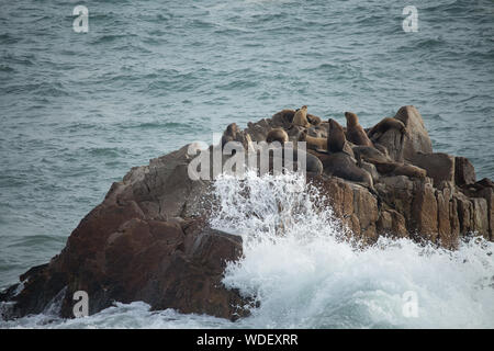 Sea Waves On Rock Formation - Stock Photo