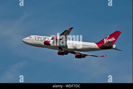 Virgin Atlantic Boeing 747-443,  Gatwick Airport, England - Stock Photo