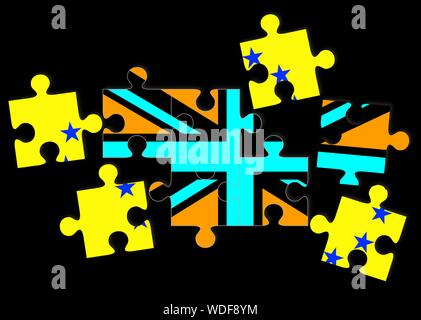 Brexit concept, flags of UK the United Kingdom and EU the European Union as scattered jigsaw puzzle pieces - Stock Photo