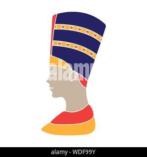 Bust of Nefertiti Icon in colour style isolated on white background. Ancient Egypt symbol vector illustration. - Stock Photo