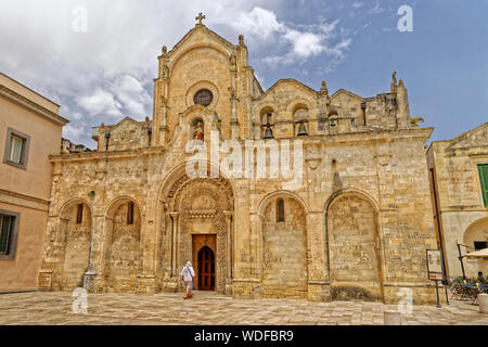Church of San Giovanni Battista at Matera Old Town in the Basilicata Region, Southern Italy. - Stock Photo
