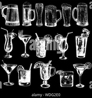 Set of hand drawn sketch style beer and highball cocktails isolated on black background. Vector illustration. - Stock Photo
