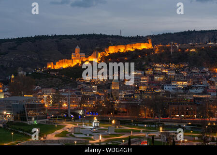 Tbilisi Georgia, view to the Narikala Fortress in the evening looking over the old town, done in spring 2019 - Stock Photo