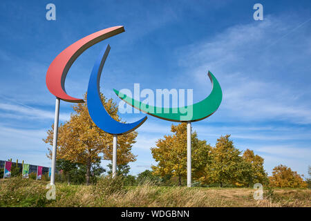The Paralympics sign in the Queen Elizabeth Olympic Park, Stratford, East London UK - Stock Photo