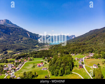 Beautiful amazing countryside view on Mondsee lake (Moonlake, moon) im Salzkammergut, alps mountains , Schafberg mountain in from  Unterach. Upper Aus - Stock Photo