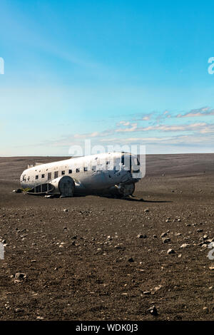 Solheimasandur Plane Wreck crashed airplane in 1973, Douglas R4D Dakota DC-3 C 117 of the US Navy in the Iceland pebble desert - Stock Photo