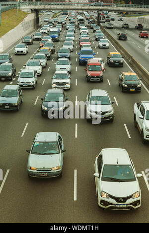 Buenos Aires - Aug. 29, 2019. Traffic jams in Buenos Aires on Aug. 29, 2019. There are a millions cars on Buenos Aires's streets Stock Photo