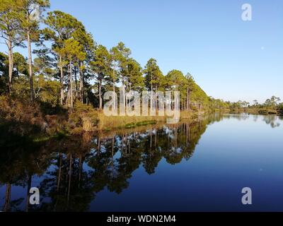 Scenic View Of Lake Against Clear Blue Sky - Stock Photo