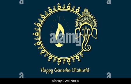 Happy Ganesh Chaturthi Celebration Invitation Greeting Card Concept Design with Indian Lantern (Diya). Floral Golden Frame. Lord Ganesha Illustration. - Stock Photo