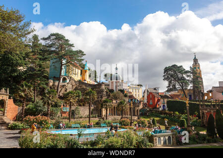 Popular tourist resort of Portmeirion with it's Italian village style architecture in Gwynedd, North Wales. - Stock Photo