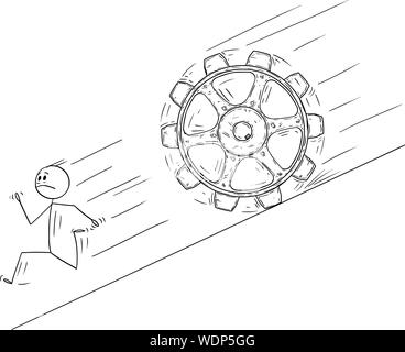 Vector cartoon stick figure drawing conceptual illustration of man or businessman running away downhill from big rolling cog wheel. - Stock Photo