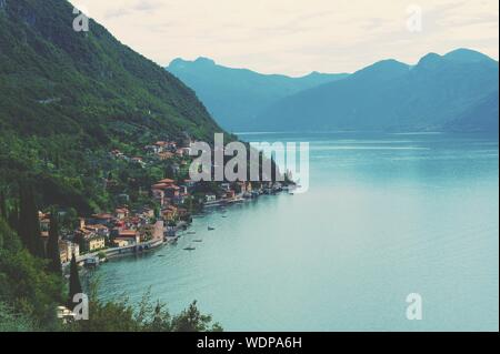 Scenic View Of Adda River And Mountains Against Sky - Stock Photo