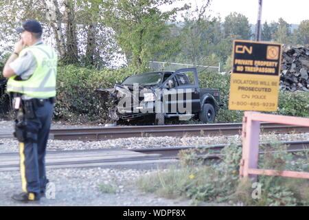 Train Hits Truck - Stock Photo