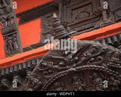 Wooden carving at ancient Hindu Nepali Mandir Temple, dedicated to Lord Shiva,  Varanasi, Uttar Pradesh, India, Asia - Stock Photo