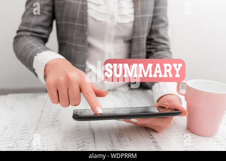 Handwriting text writing Summary. Conceptual photo a brief statement or account of the main points of something Business concept with mobile phone in - Stock Photo