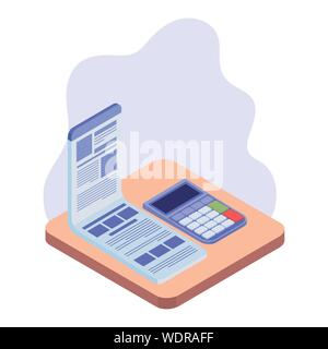 calculator with sheet of paper on white background - Stock Photo