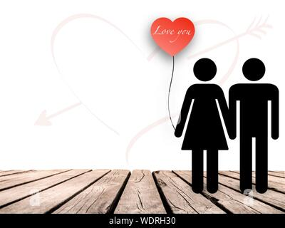 Digital Composite Image Of Couple Holding Heart Shape Balloon Against White Background - Stock Photo