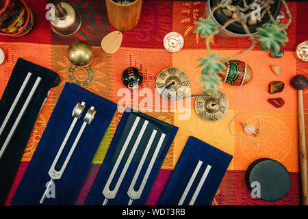High Angle View Of Sound Healing Instruments On Table - Stock Photo