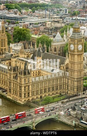 High Angle View Of Big Ben At Palace Of Westminster In City