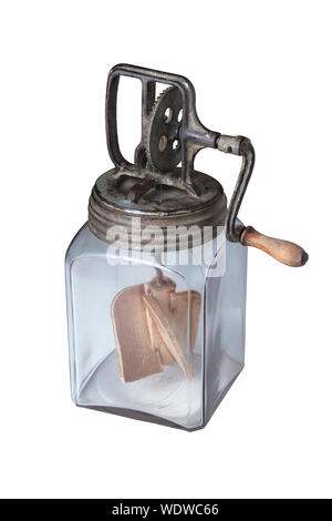 Close-up Of Antique Butter Churn On White Background - Stock Photo