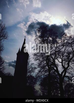 Low Angle View Of Silhouetted Church - Stock Photo