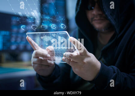 Digital Composite Image Of Man Using Digital Tablet - Stock Photo