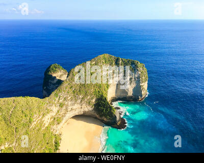 Karang Dawa, Manta Bay or Kelingking Beach on Nusa Penida Island, Bali, Indonesia - Stock Photo