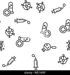 Biomaterials, Medical Analysis Vector Seamless Pattern Illustration - Stock Photo